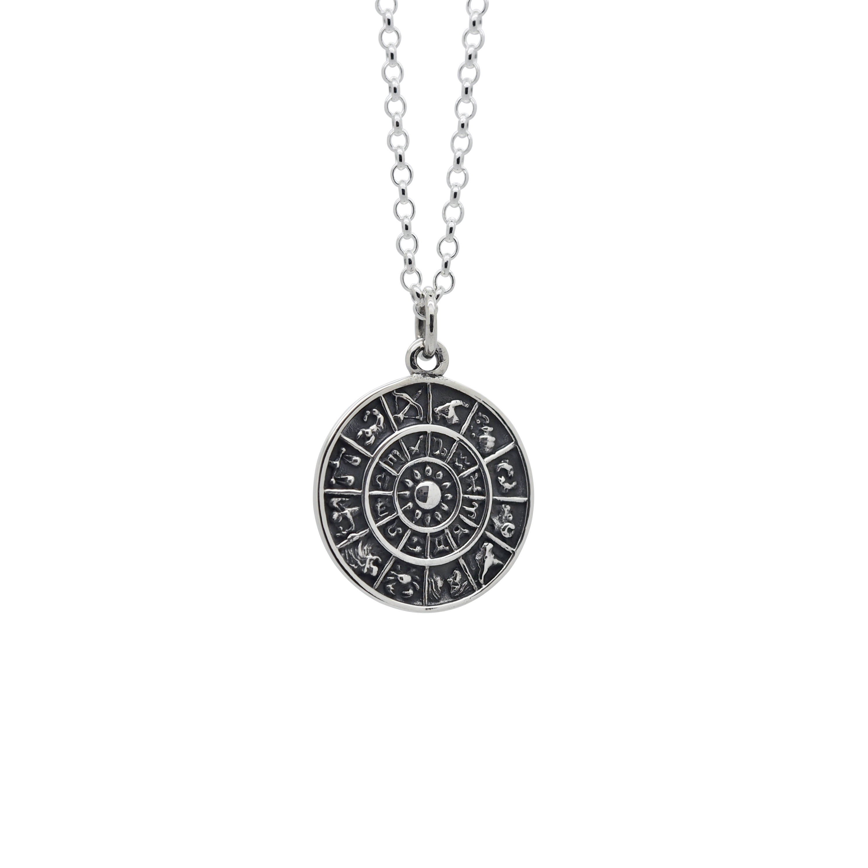 Sterling Silver Zodiac Medallion Necklace