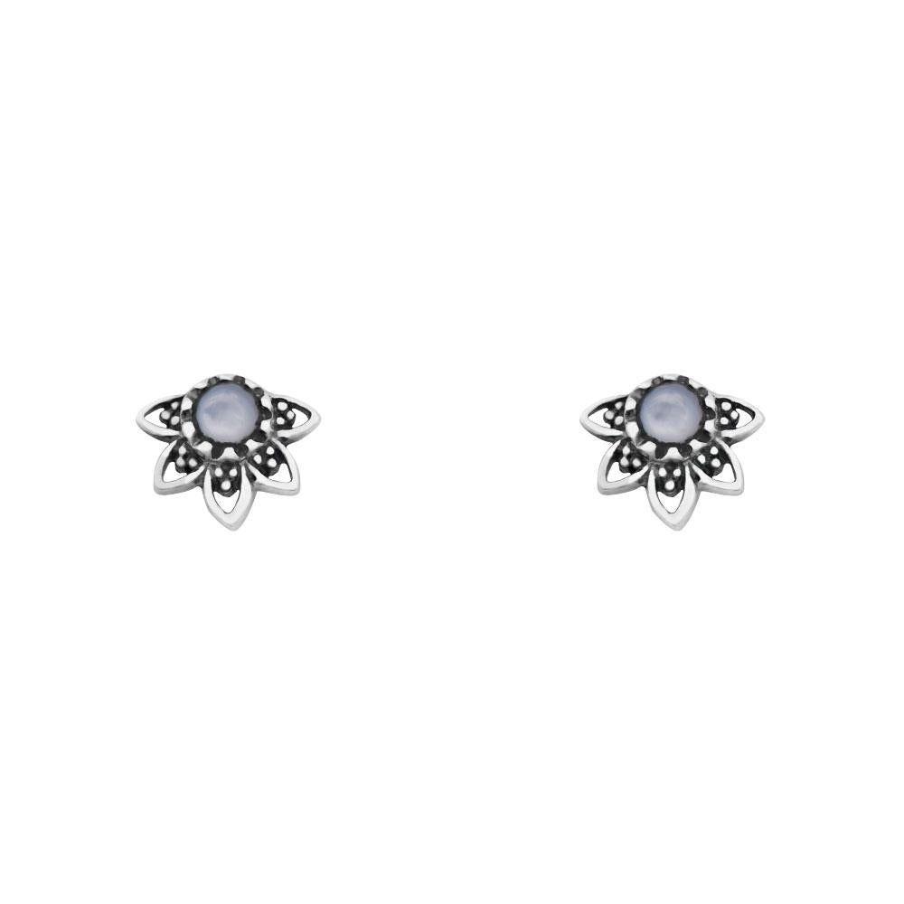Sterling Silver Mandala Eclipse Mother Of Pearl Studs