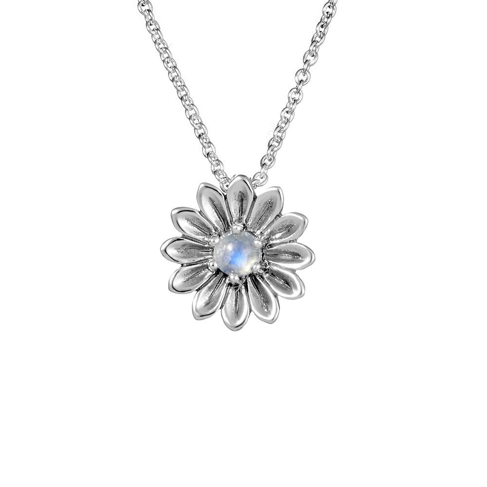Sterling Silver Sunflower Moonstone Necklace