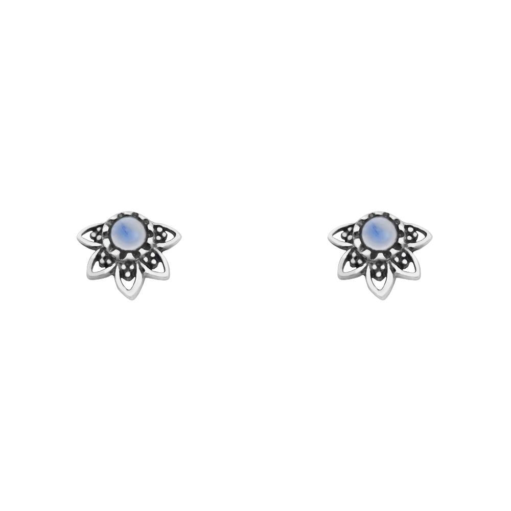 Sterling Silver Mandala Eclipse Moonstone Studs