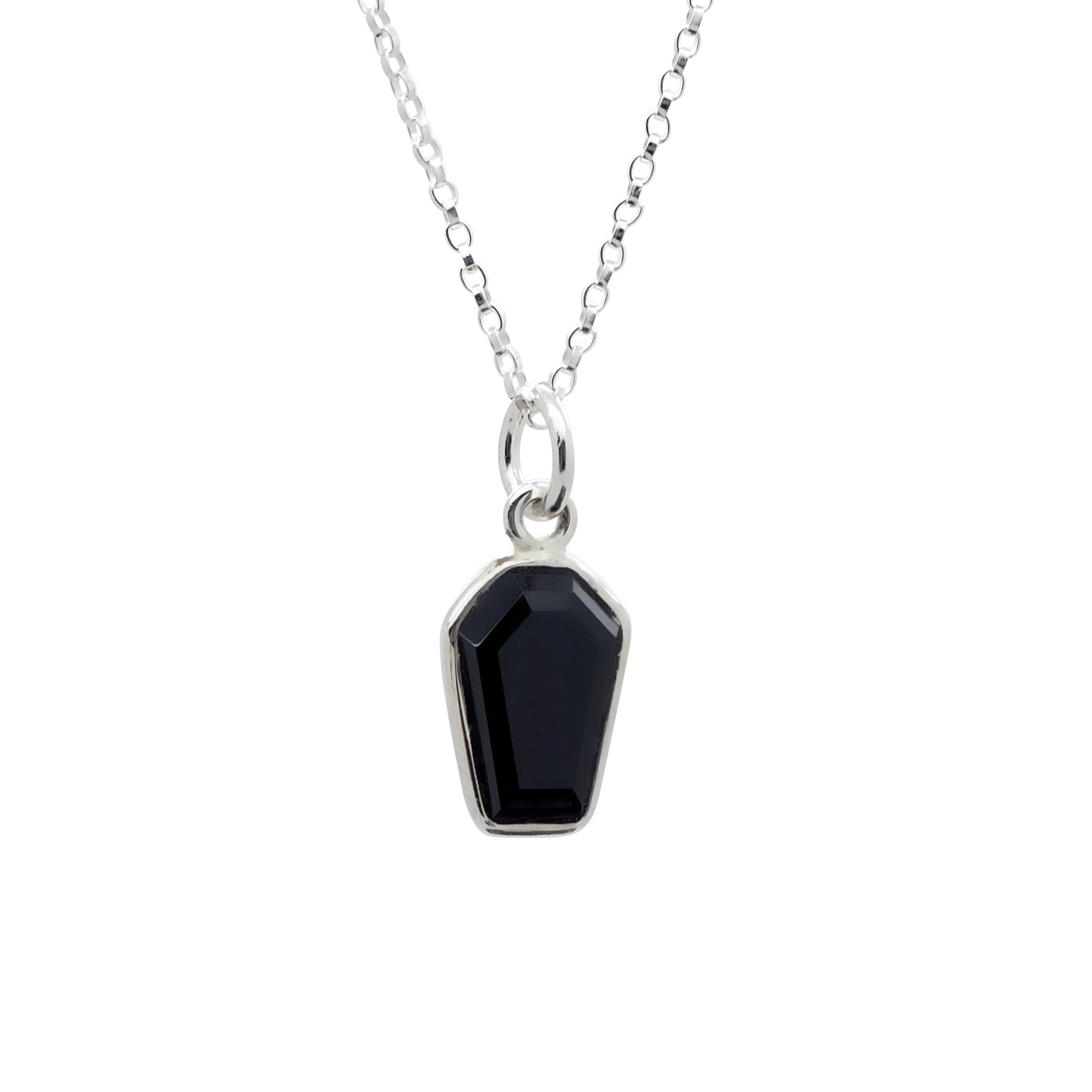 Sterling Silver Black Onyx Mystic Coffin Necklace