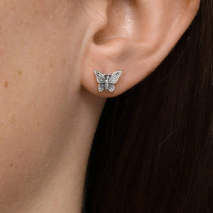 Sterling Silver Butterfly Lovers Studs