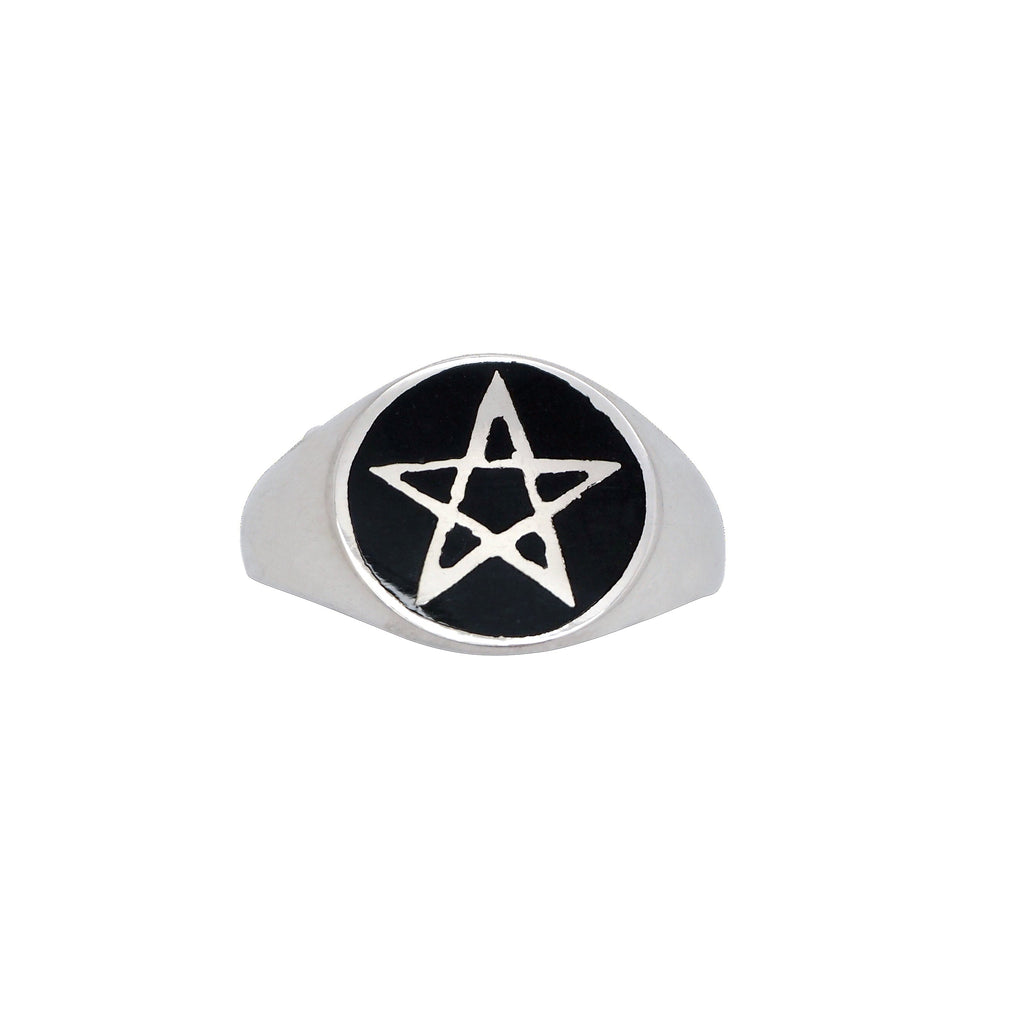 Sterling Silver Pentagram Signet Ring