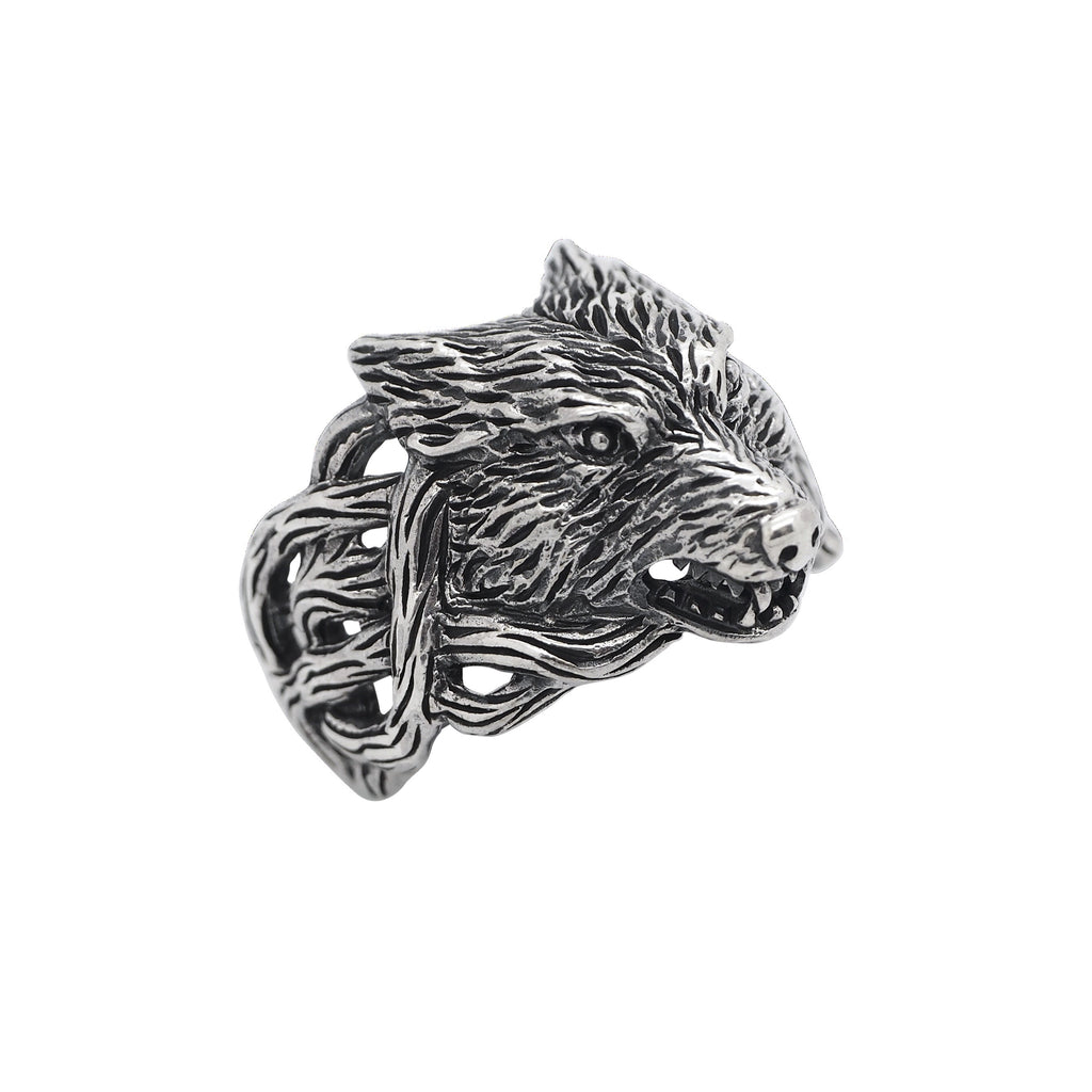 Sterling Silver Wolfs Head Ring