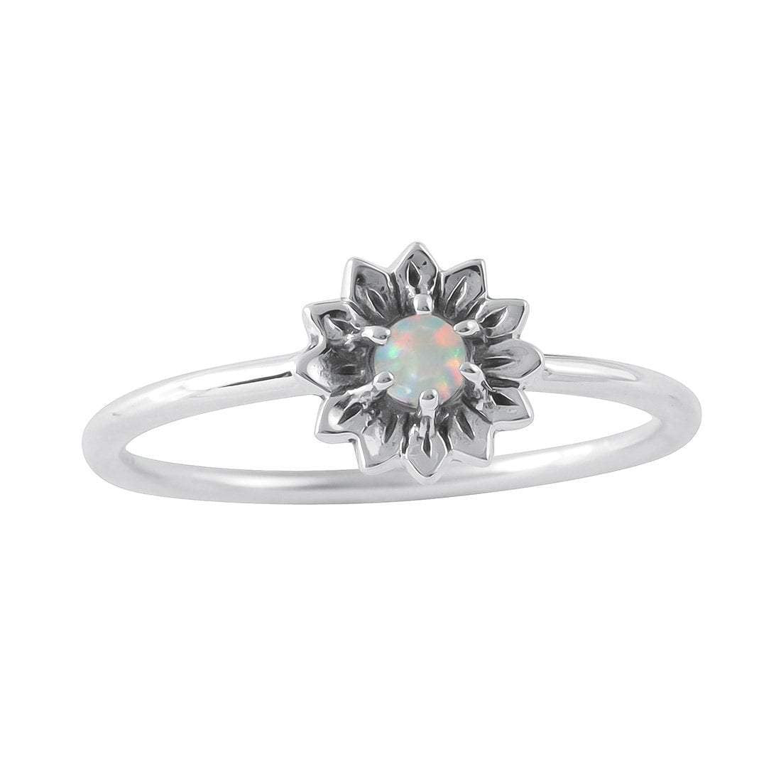 Sterling Silver Delicate Sunflower Opal Ring