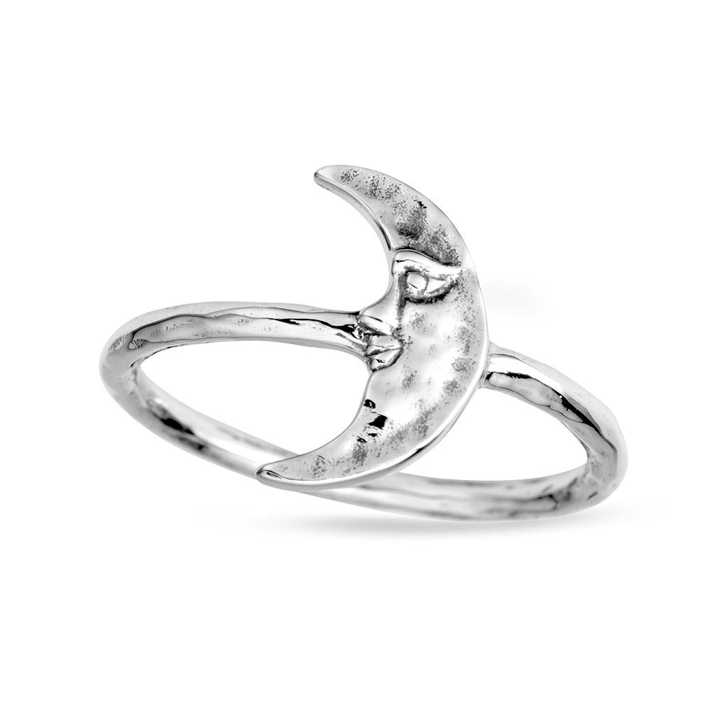 Sterling Silver Crescent Moonface Ring