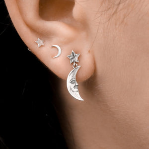 Sterling Silver Antique Moonface Studs
