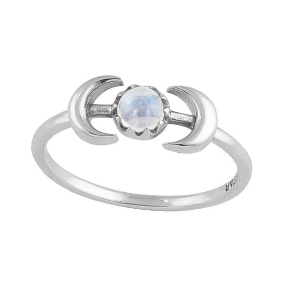 Sterling Silver Encapsulating Moons Rainbow Moonstone Ring