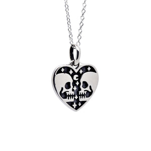 Sterling Silver Skull Heart Necklace