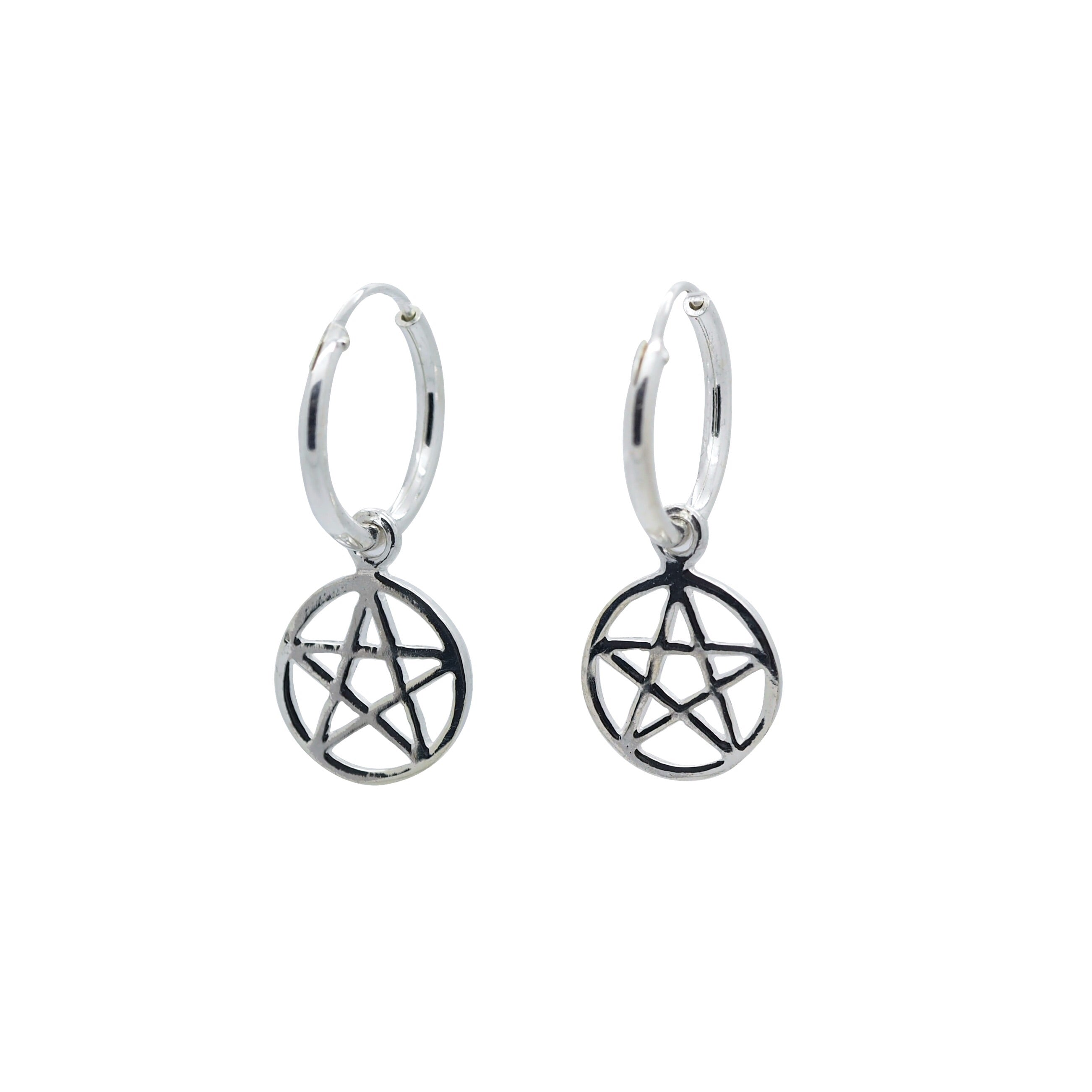 Sterling Silver Pentagram Hoops