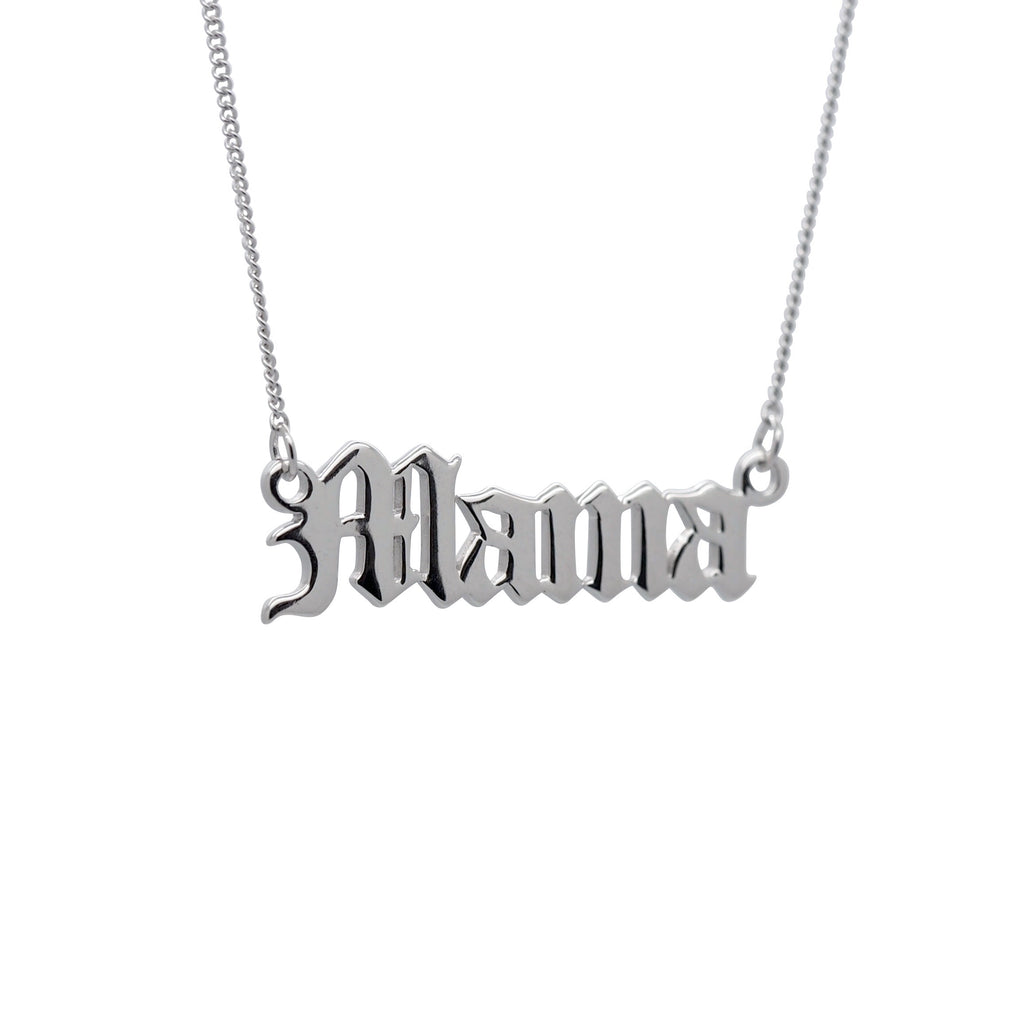 Sterling Silver 'Mama' Script Necklace