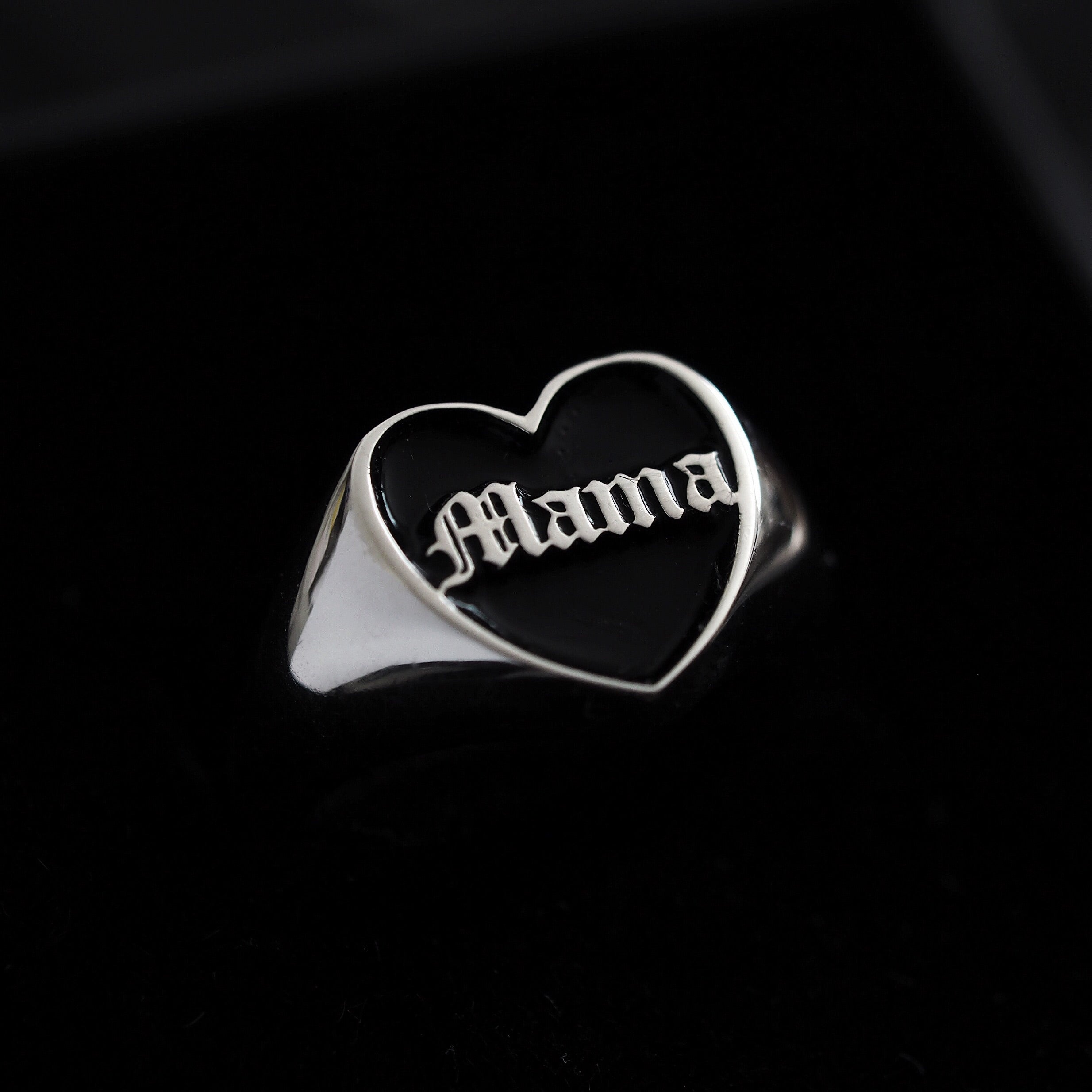 Sterling Silver Mama Heart Ring