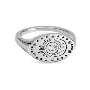 Sterling Silver Cradle Moon Signet Ring