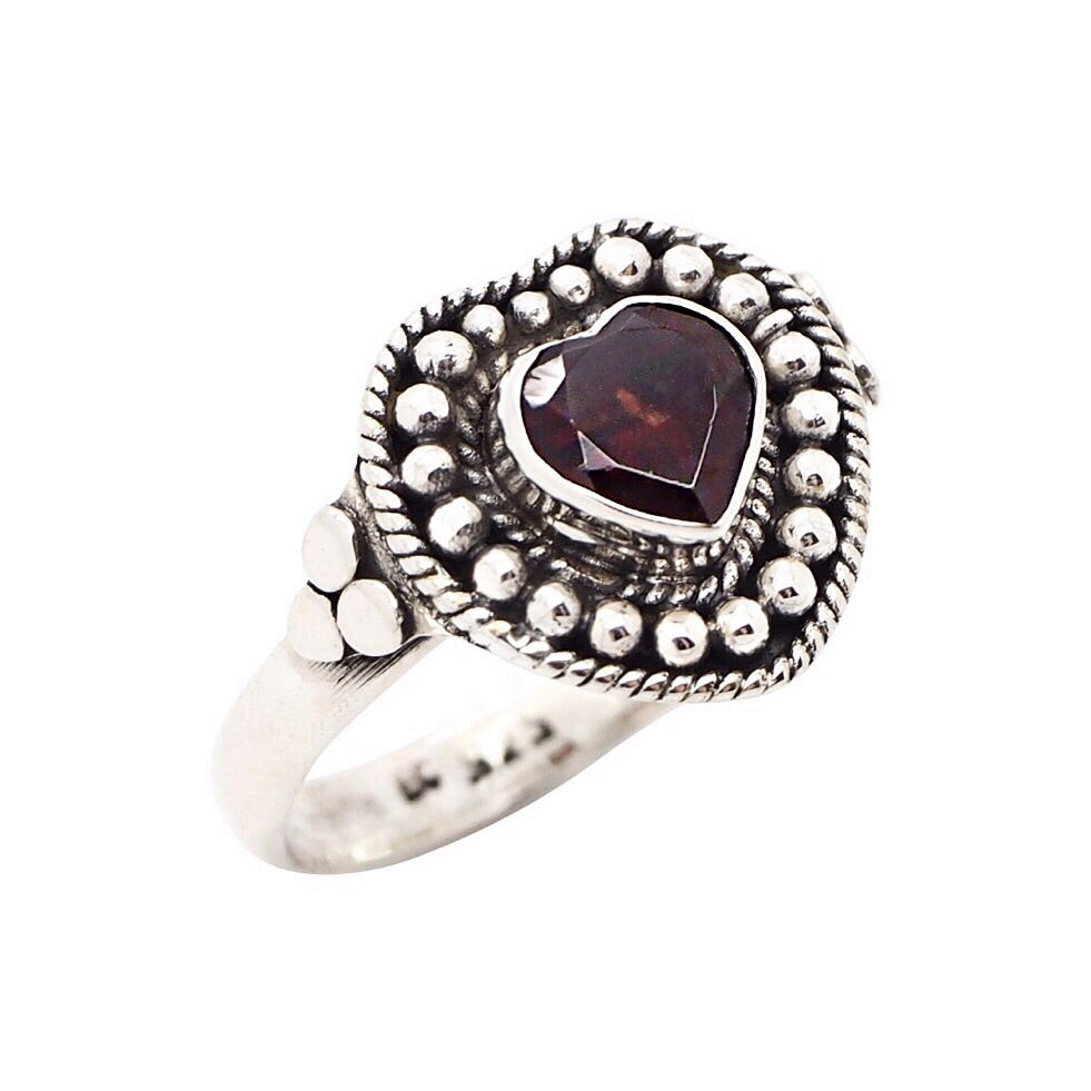 Sterling Silver Garnet Love Spell Ring