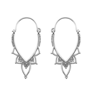 Sterling Silver Love Lace Hoops