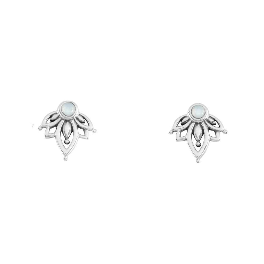 Sterling Silver Lotus Mother of Pearl Studs