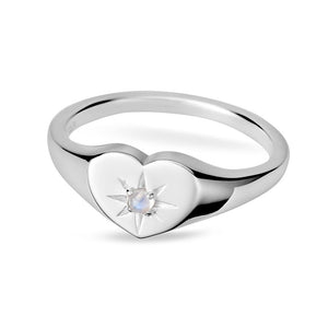 Sterling Silver Enchanted Heart Moonstone Ring