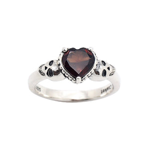 Sterling Silver Garnet Heart & Skulls Ring