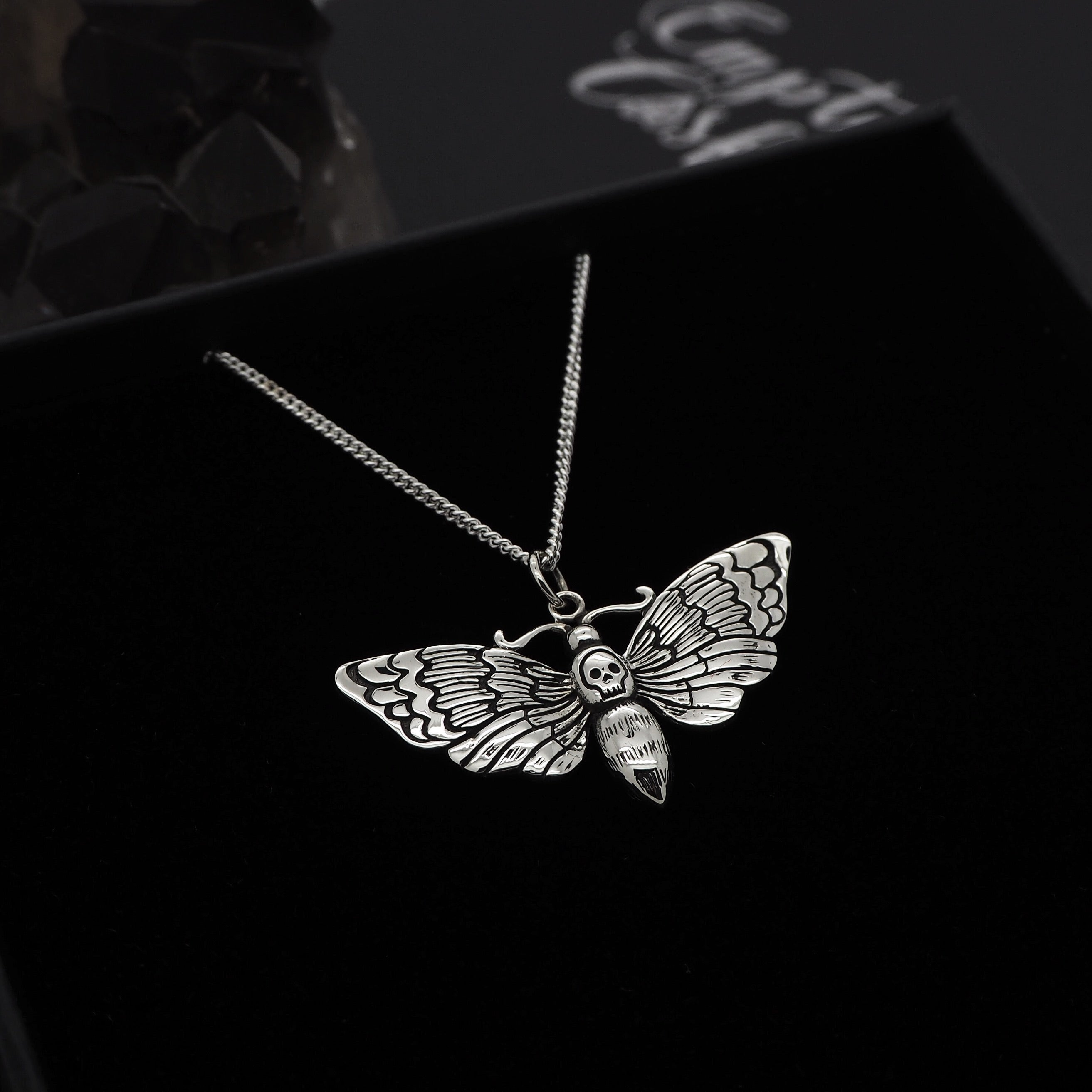 Sterling Silver Death's Head Hawkmoth Necklace