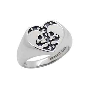 Sterling Silver Skull Heart Signet Ring