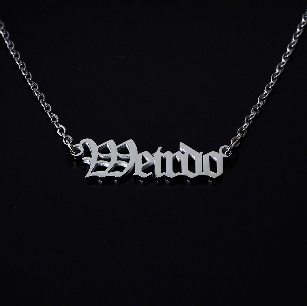 'Weirdo' Script Necklace