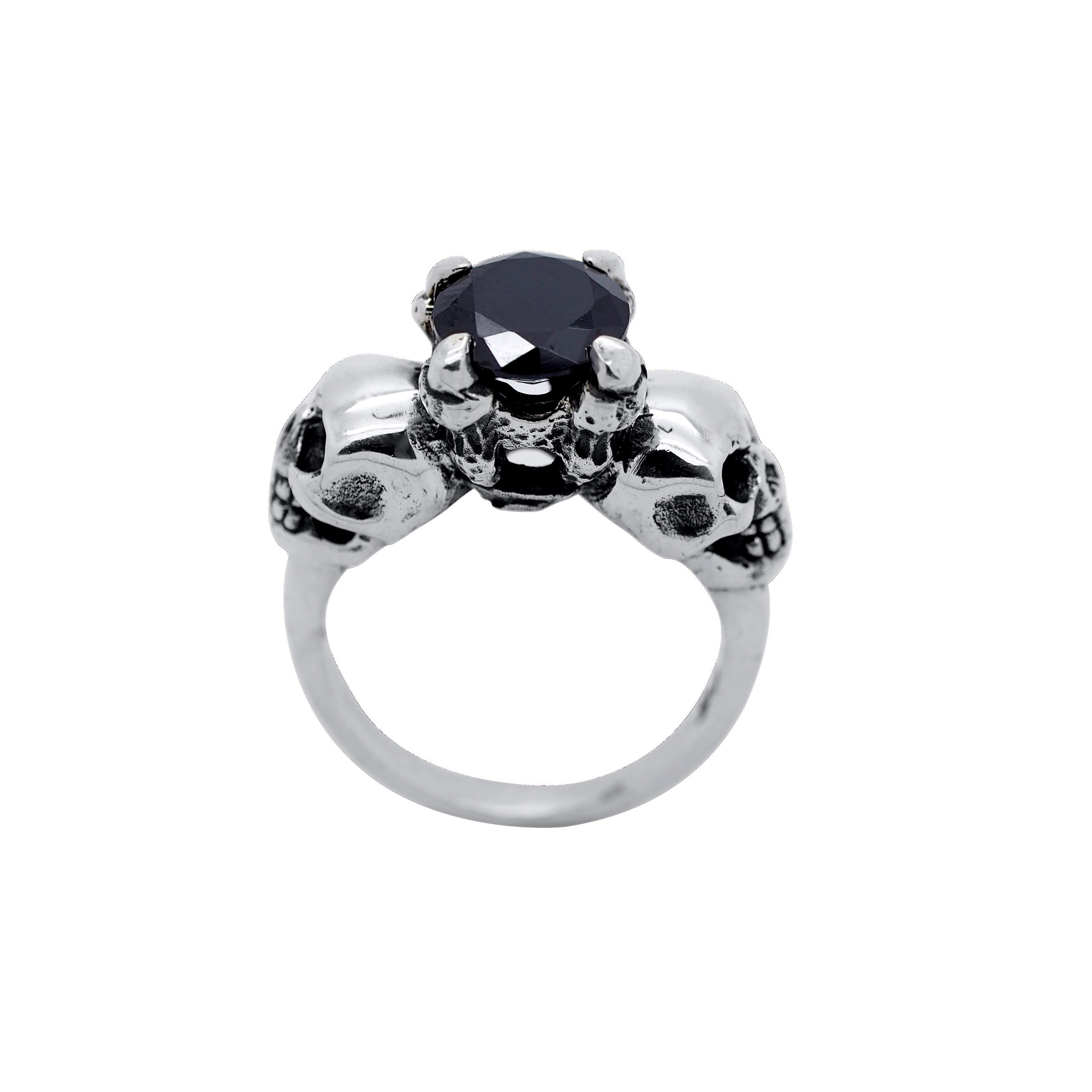 Sterling Silver & Black Onyx 'Till Death' Ring