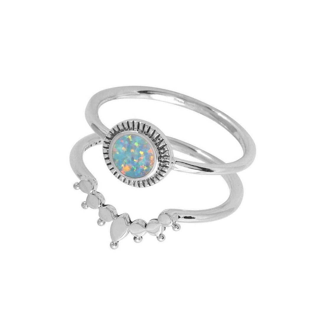 Sterling Silver Ascendant Rising Opal Ring Set