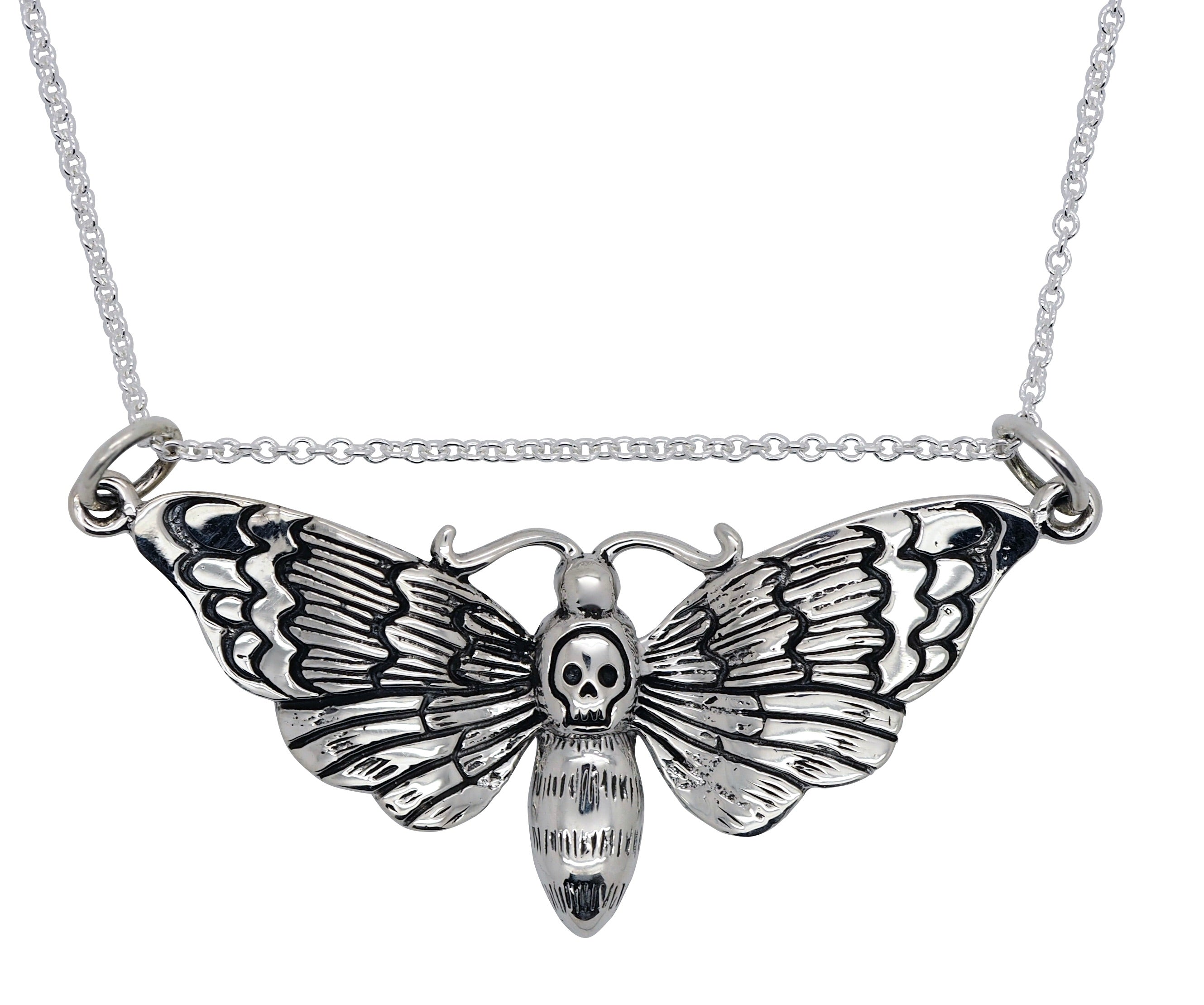 Sterling Silver Death Head Moth Necklace