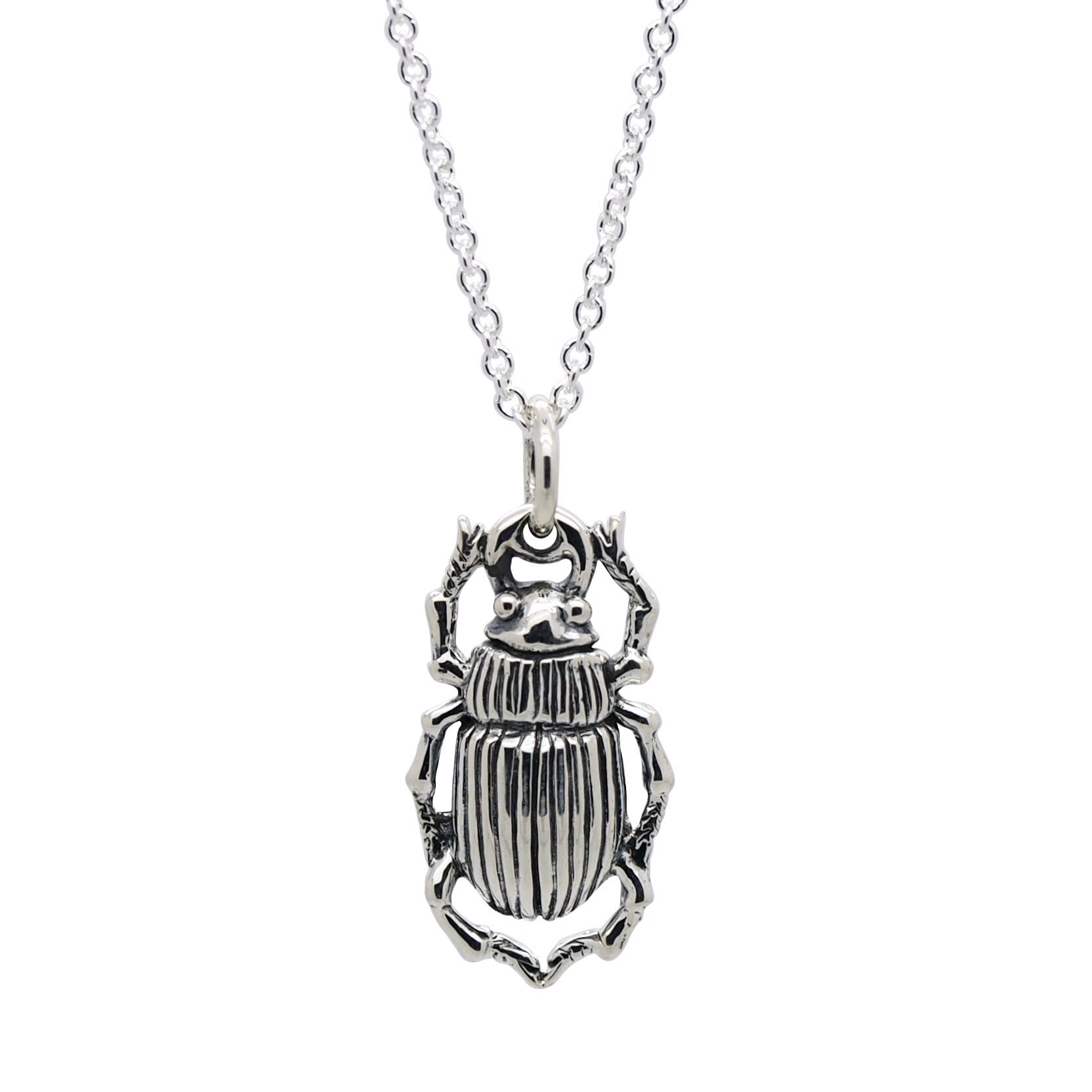 Sterling Silver Scarab Beetle Necklace