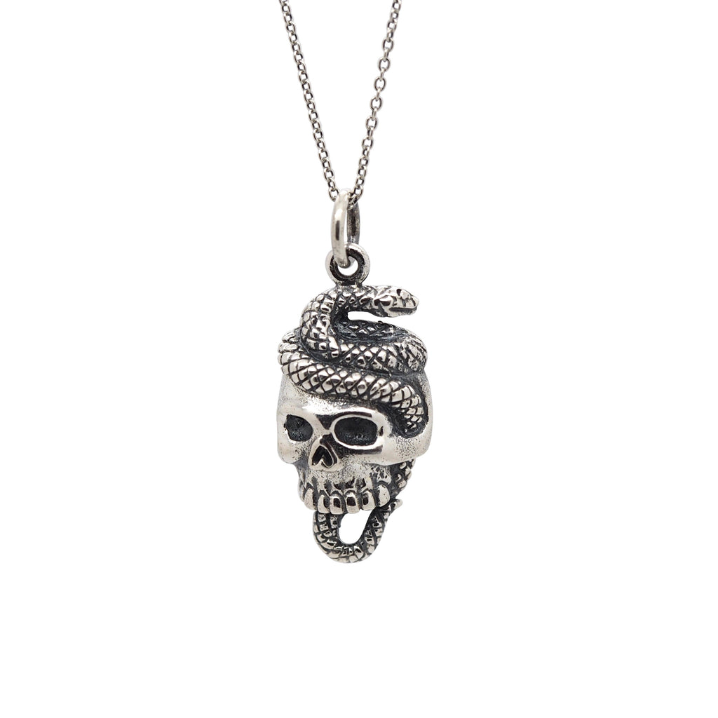 Sterling Silver Skull & Snake Necklace