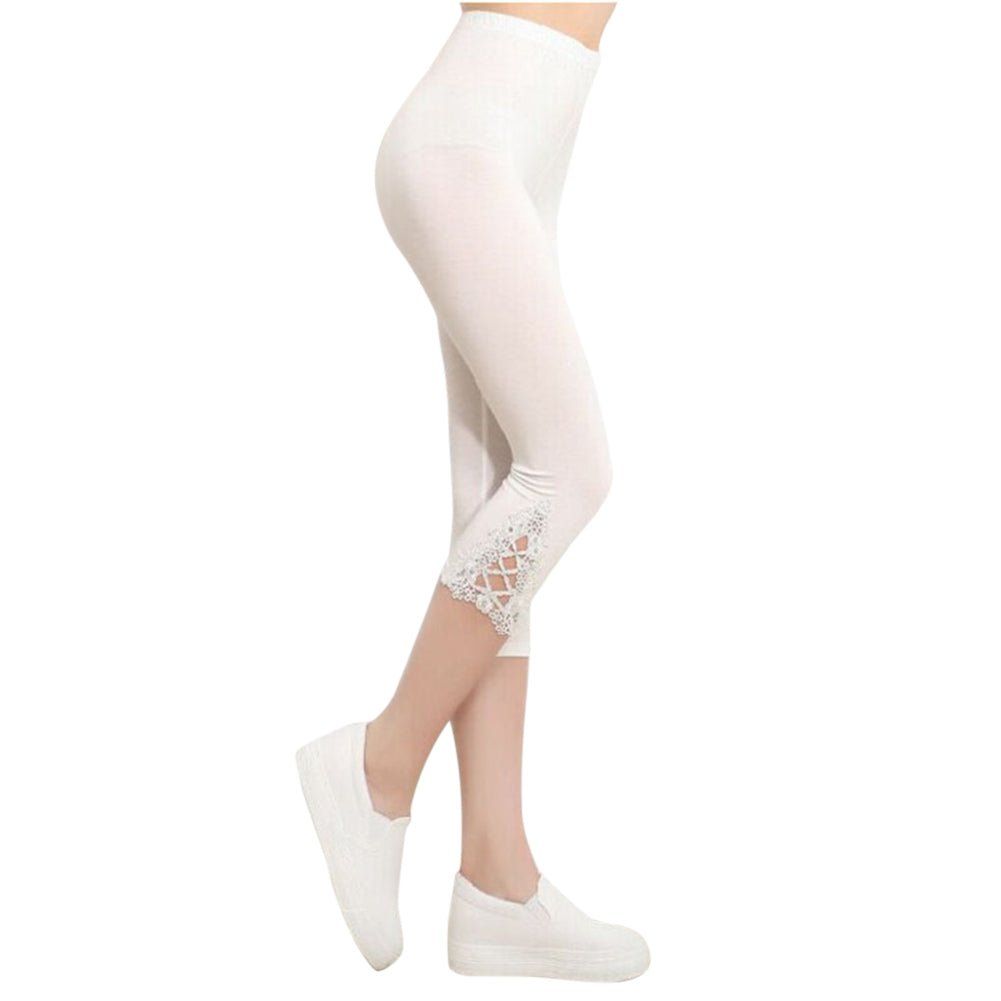 2018 Fashion Women Summer Lace Pants Skinny Stretch Cropped Capris Pants 3/4 Length Summer Trousers Leggings Pantalon Mujer,RedOphelia.com