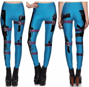 Blue - Black Gun Leggings #L1312,RedOphelia Leggings