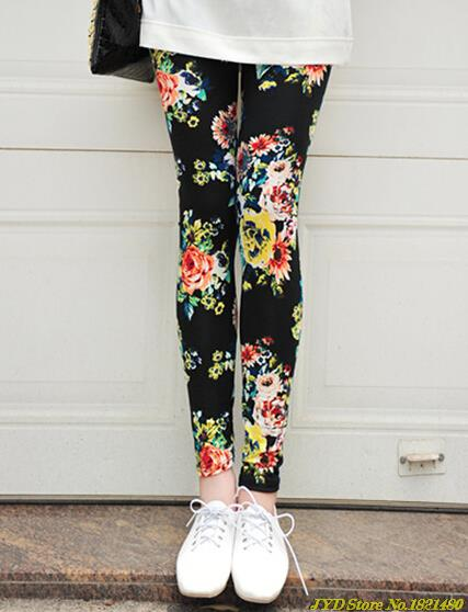 f3ef1ba16ff3 CUHAKCI 2018 New Women's Leggings High Street Cotton Leggin Casual Floral Printed  Legging Graffiti Soft Fashion