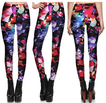 Colorful Geometry Leggings #L1220,RedOphelia Leggings