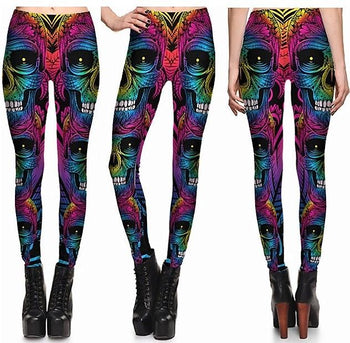 Colorful Metal Skulls #L1290,RedOphelia Leggings