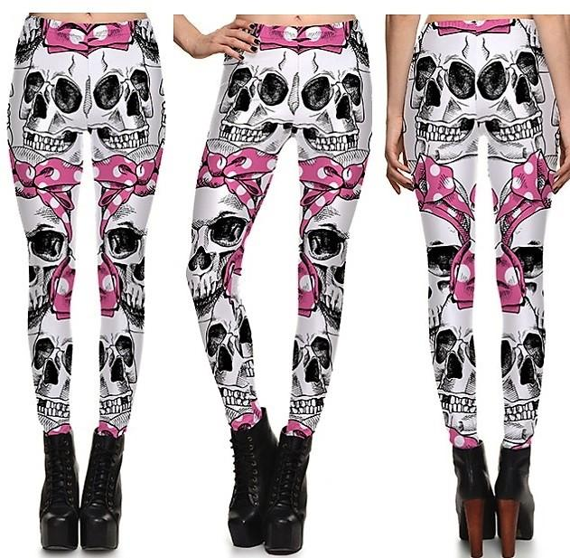 Cute Skeleton Bows Leggings #L1267,RedOphelia.com