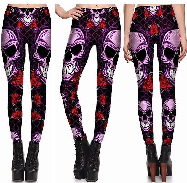 Evil Skulls Leggings #L1297,RedOphelia Leggings