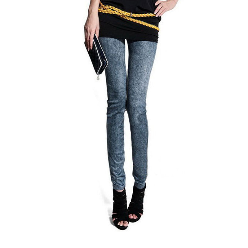 Fashion Women Skintight Abrasion Print Imitated Jeans Trendy Leggings Elastic Pants Ankle-Length Thin Female Trousers Sexy Pants,RedOphelia.com