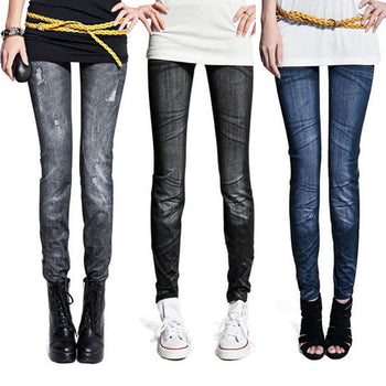 Fashion Women Skintight Abrasion Print Imitated Jeans Trendy Leggings Elastic Pants Ankle-Length Thin Female Trousers Sexy Pants,RedOphelia Leggings