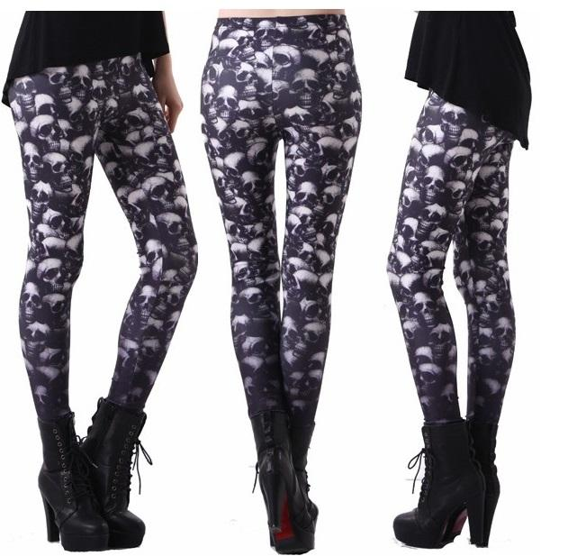 Multi Skulls Leggings #L1217,RedOphelia Leggings