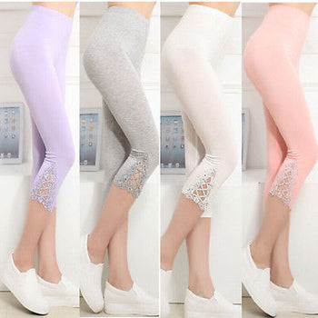 New Fashion Women Legging Printed Floral Lace High Waist Leggings Fitness Stretch Casual Cropped Pants,RedOphelia.com