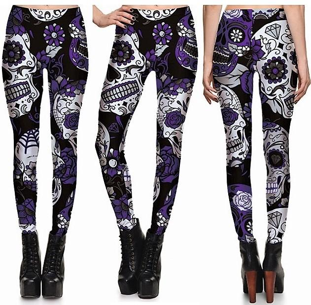 Purple Skull Leggings #L1242,RedOphelia.com