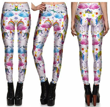 Rainbow Clouds Leggings #L1307,RedOphelia Leggings