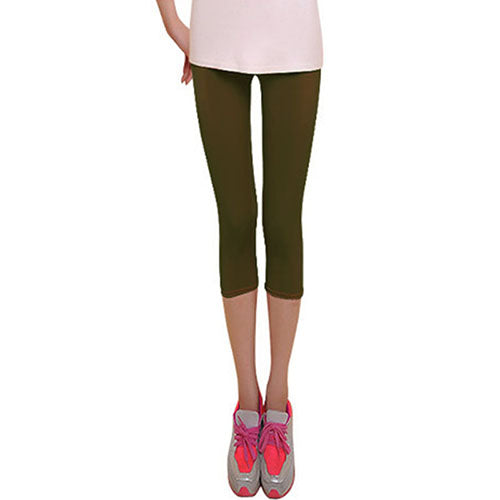 e26c6bf5a8075 Sexy Solid colorful Women Summer smooth Silk Leggings capris High Stretched  Jeggings Fitness Pants Ballet Cropped