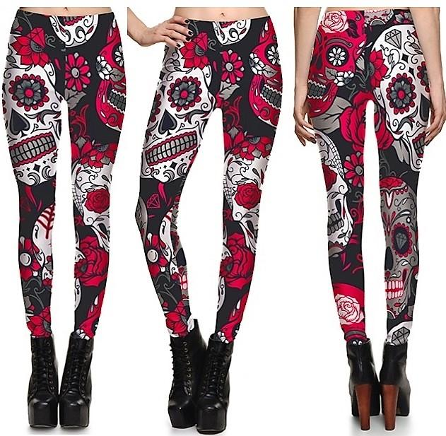 Skull & Flower Leggings #L1232,RedOphelia Leggings