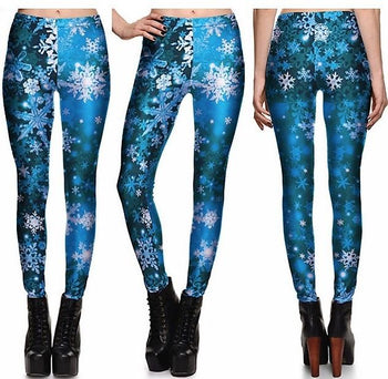 Silver Snowflakes Leggings #L1293,RedOphelia Leggings
