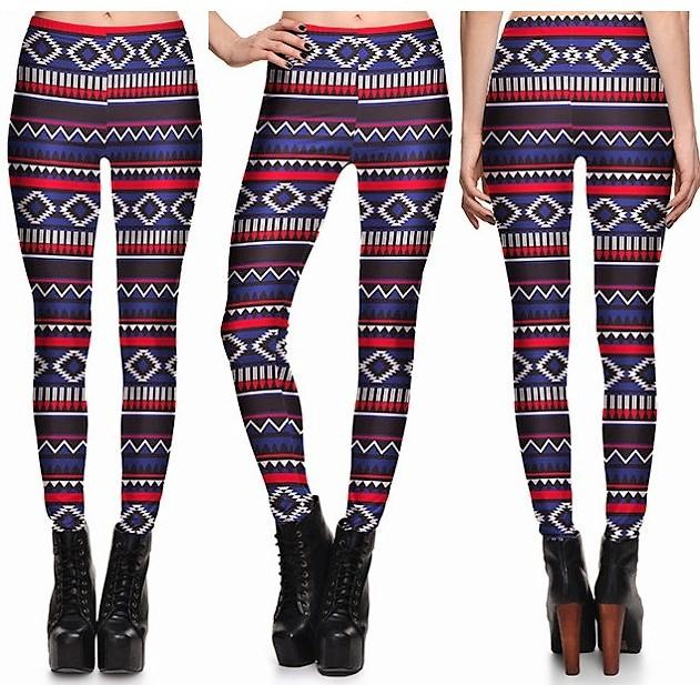 Striped Ethnic Leggings #L1305,RedOphelia Leggings