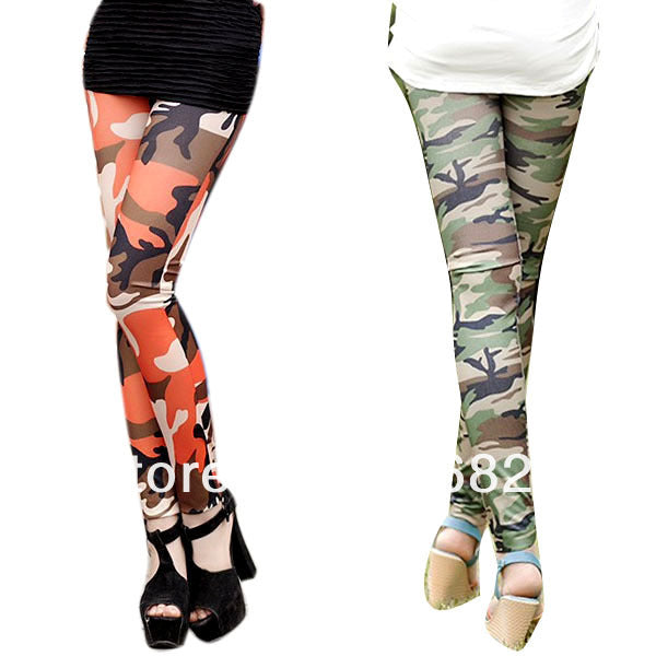 Unique Lady Camouflage Trouser Army  Pants Stretch Leggings Graffiti Style,RedOphelia Leggings
