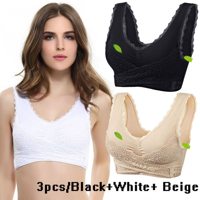 2019 Hot Sale Women Sexy Lingerie Lace Solid Color Cross Side Buckle Wireless Push up Sports Underwear Breathable Sleep Bra New,RedOphelia.com