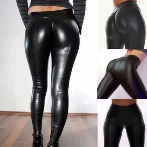 2019 New Hot Summer Fashion Girls Female Lady Shiny Bling Faux Patent Leather Stretch Leggings Wet Look PVC Pants Trousers,RedOphelia.com